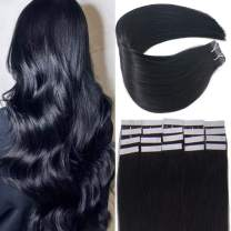 Vanvy 22Inch Jet/Off Black 50g 20Pcs Tape In Huaman Hair Extensions, No Split Double Side Tape In Hair Extensions, Natrual Black Remy Human Hair Extensions Tape In.1# 22