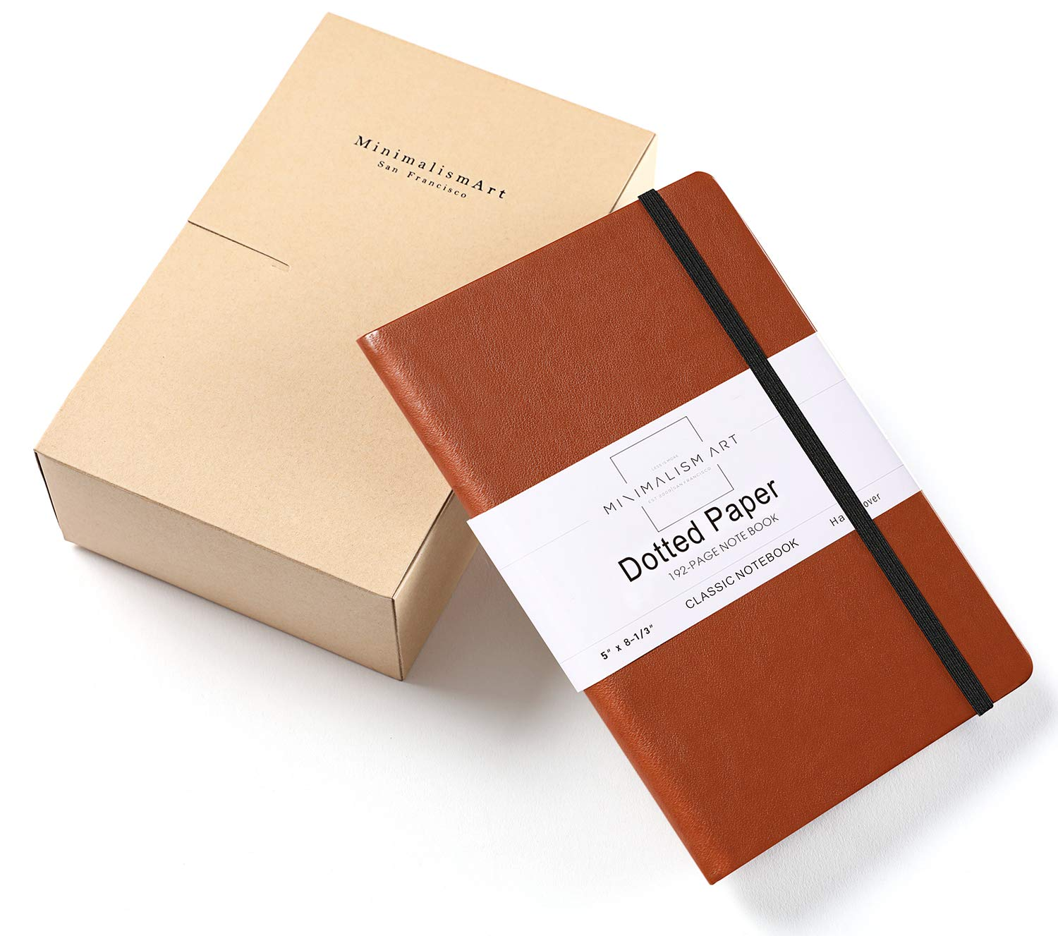 Minimalism Art, 3-Pack Classic Notebook Journal, A5 Size 5 X 8.3 inches, Brown, Dotted Grid Page, 192 Pages, Hard Cover, Fine PU Leather, Inner Pocket, Quality Paper-100gsm, Designed in San Francisco