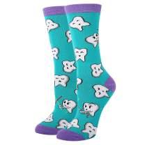 HAPPYPOP Women Girl Dental Teeth Crew Socks Funny Medical Hygienist Dentist Gift