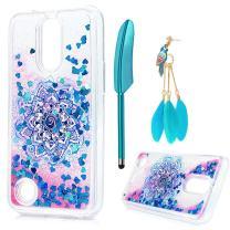 LG K20 Plus Glitter Case,ZSTVIVA Totem Flower Floating Liquid Glitter Case for LG K10 Bling Case with Phone Screen Pen Dust Plug,LG K20 V Bling Silicone Case - Blue