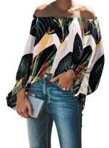Aleumdr Women's Casual Off Shoulder Loose Shirt Balloon Sleeve Blouse Top