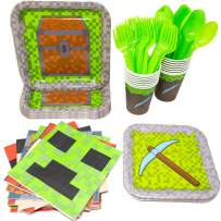 Blue Orchards Mining Fun Standard Party Packs (113+ Pieces for 16 Guests!), Mining Inspired, Pixel Party Supplies, Birthday Parties