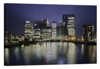 LightFairy Glow in The Dark Canvas Painting - Stretched and Framed Giclee Wall Art Print - City Urban Decor Canary Wharf London - Master Bedroom Living Room Decor - 6 Hours Glow - 24 x 16 inch
