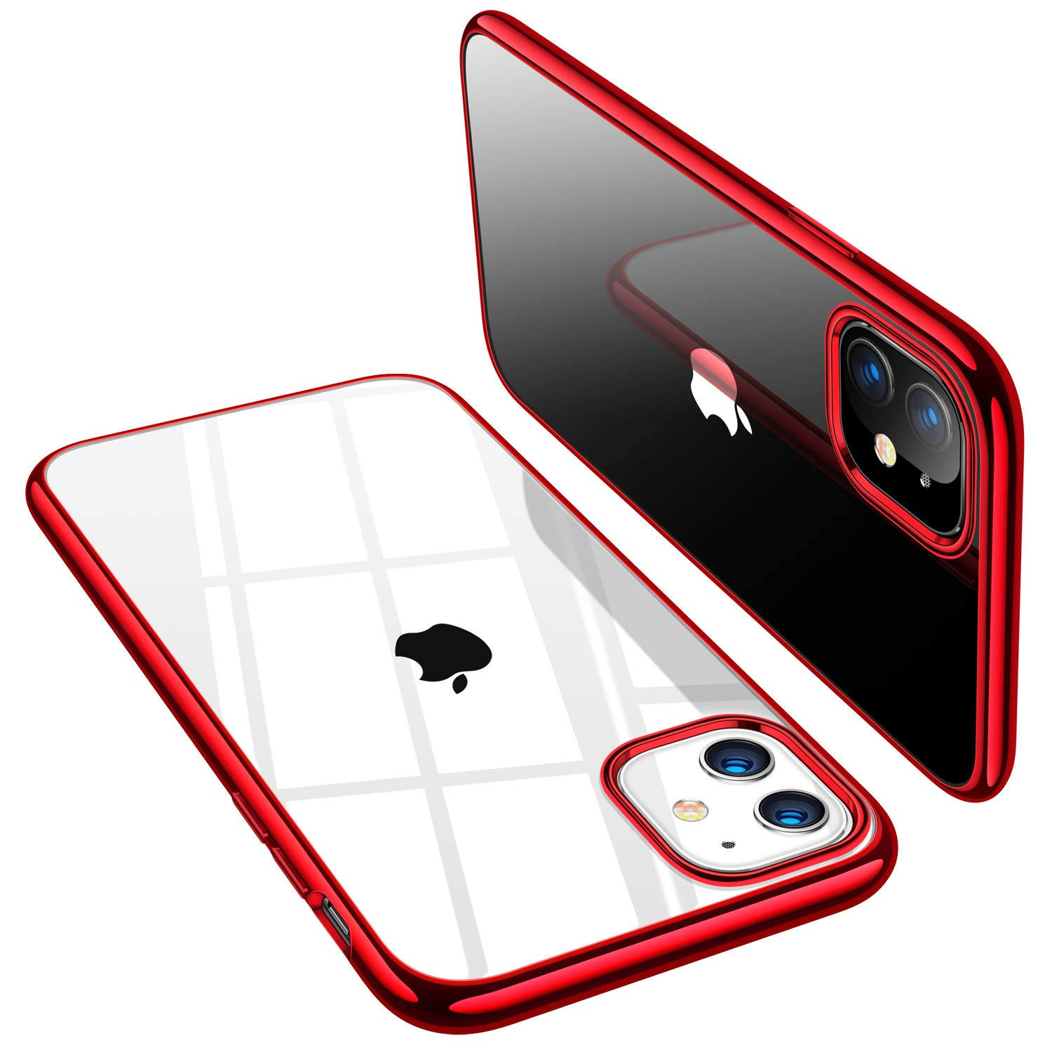 TORRAS Crystal Clear iPhone 11 Case, [Anti-Yellow] Thin Slim [Anti-Scratch] Shockproof Soft TPU Cover Case for iPhone 11 6.1 inch, Glossy Red