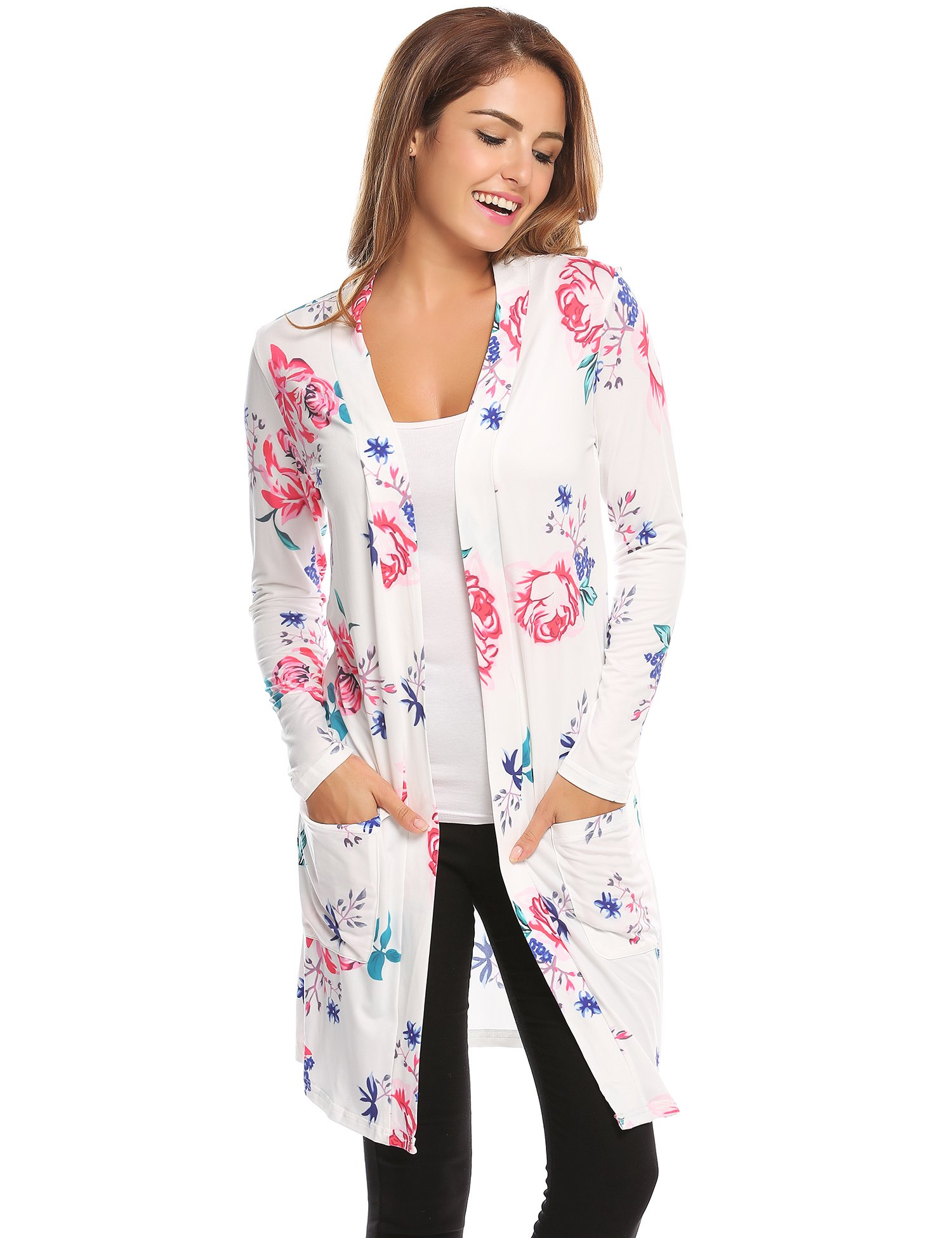 Sherosa Women's Boho Floral Cardigan with Pocket Casual Long Sleeve Wrap Kimono Cardigan Coat Outwear