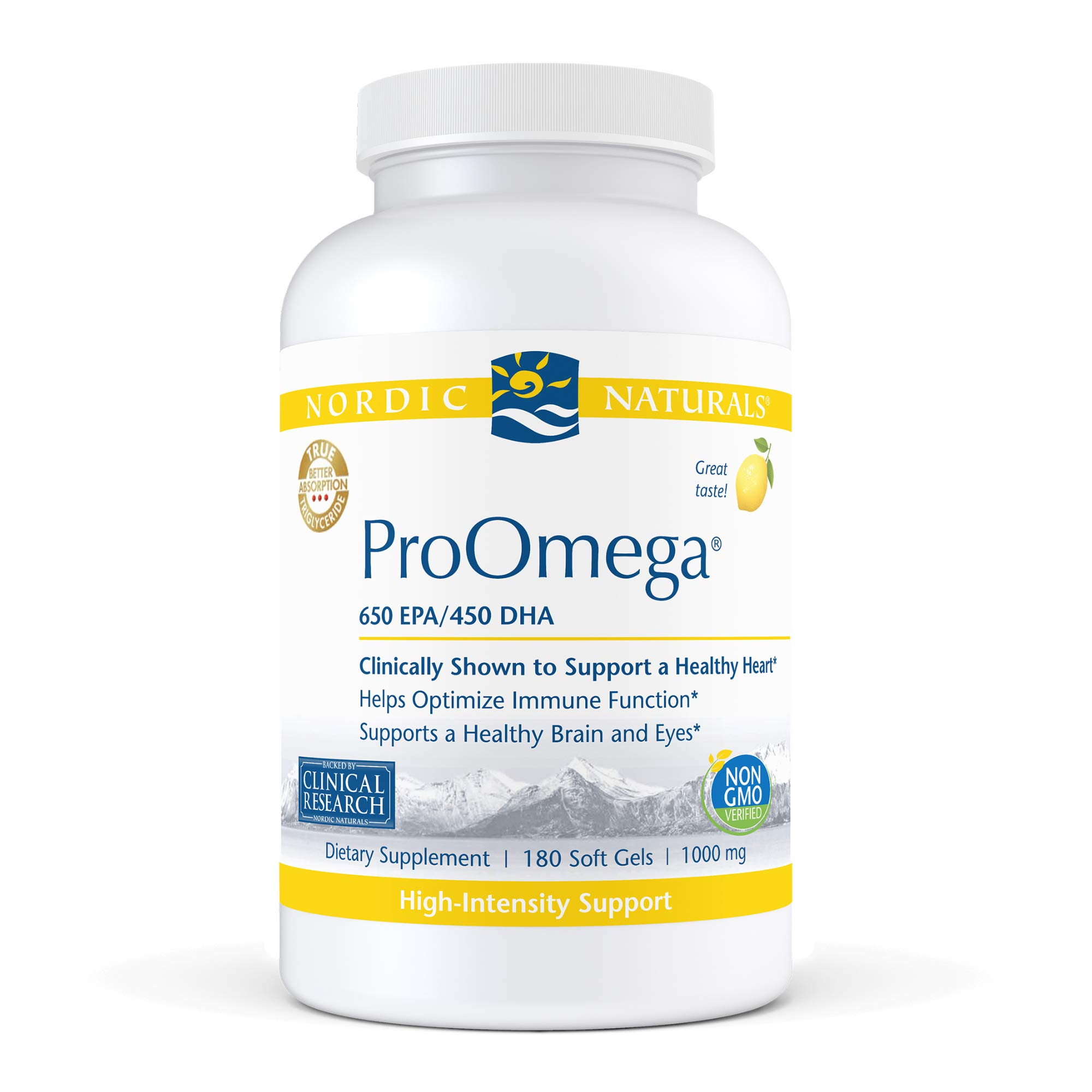 Nordic Naturals ProOmega, Lemon Flavor - 1280 mg Omega-3 - 180 Soft Gels - High-Potency Fish Oil with EPA & DHA - Promotes Brain, Eye, Heart, & Immune Health - Non-GMO - 90 Servings