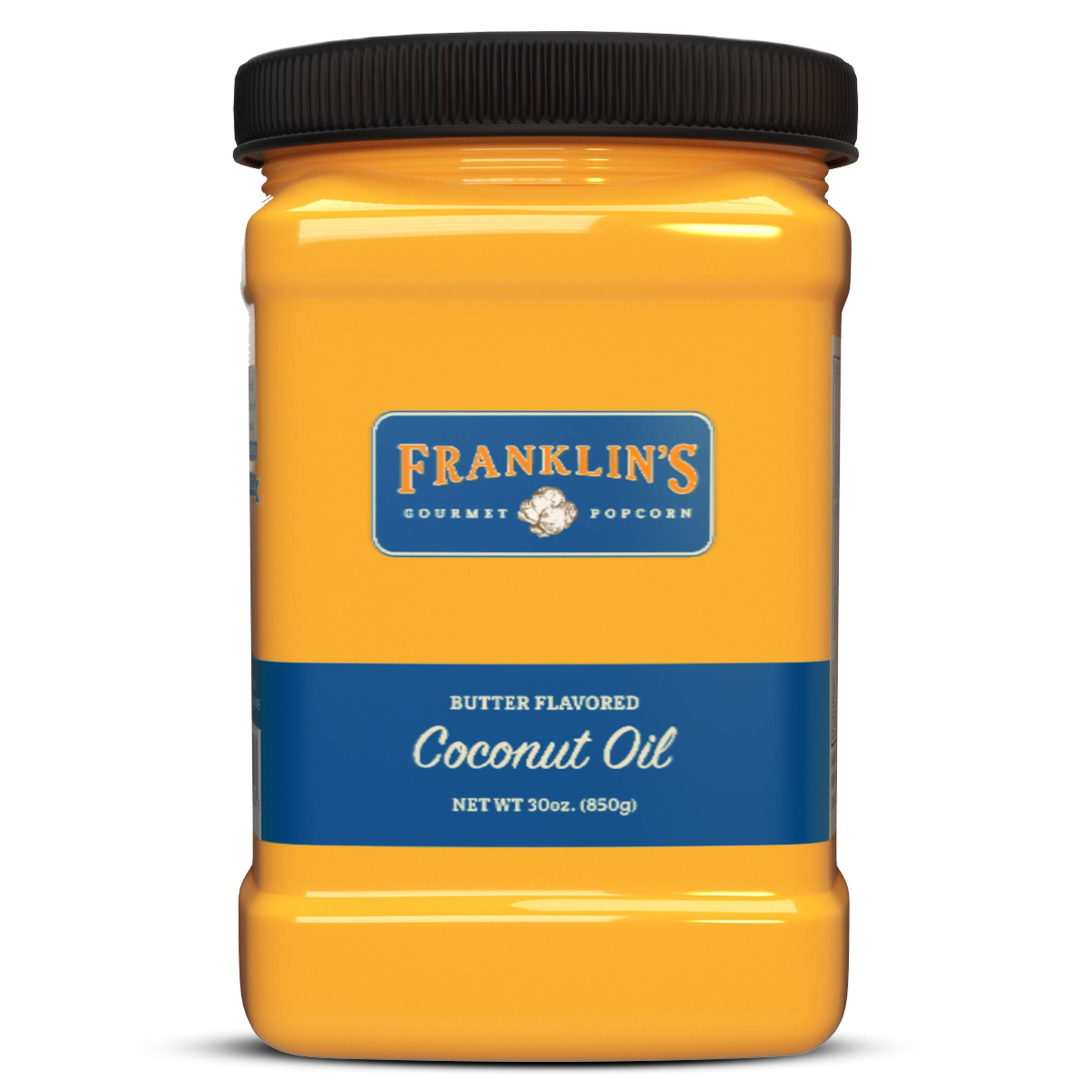 Franklin's Gourmet Popcorn Butter Flavored Coconut Oil - 30 oz. Tub - Top Rated, Delicious, Healthy, Zero Trans Fat - Gluten Free/Vegan & NO Junky Ingredients - Best Movie Theater Taste – Made in USA