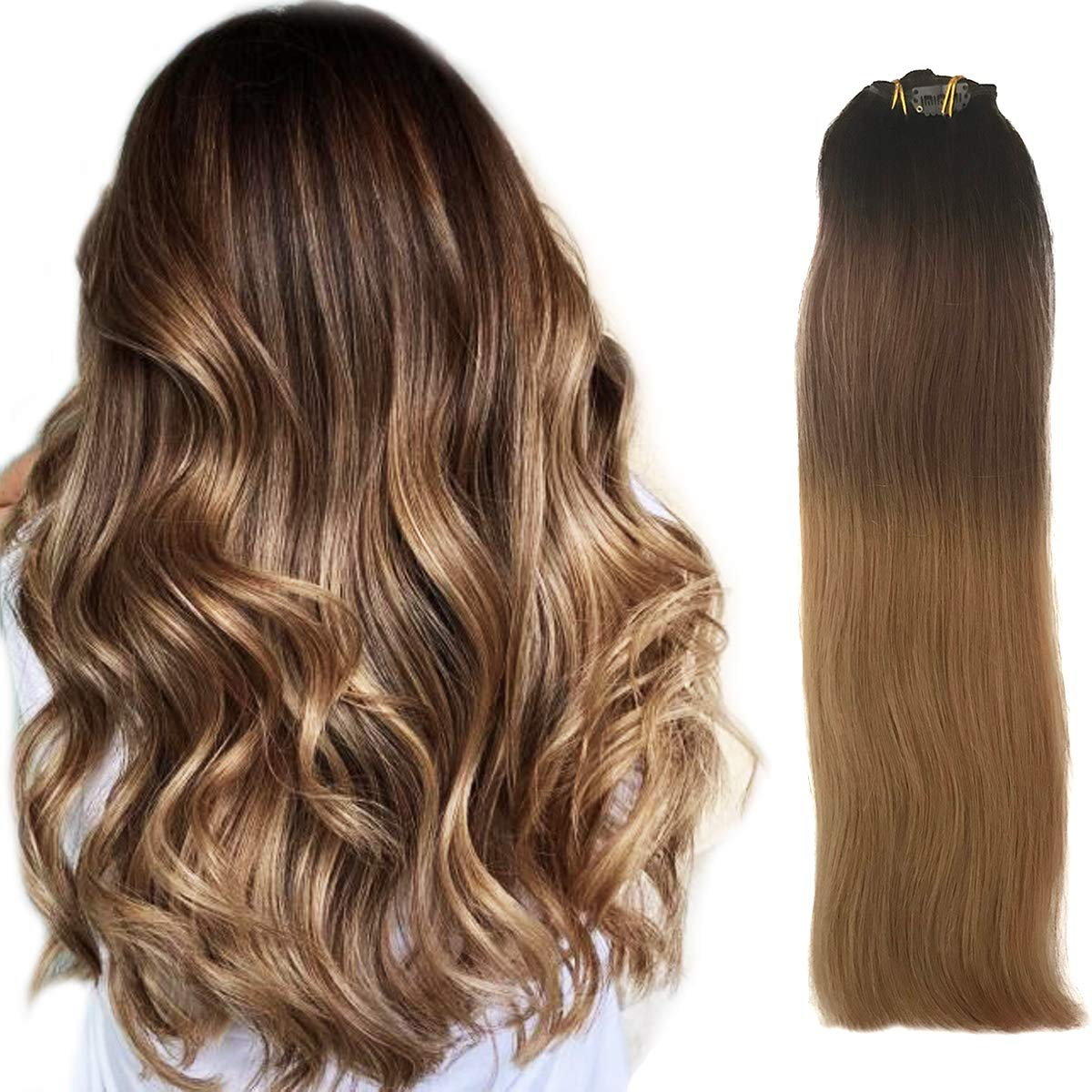 """Clip in Hair Extensions Dark Brown to Chestnut with Ash Brown Highlighted Balayage Ombre Hair Clip on 7Pcs 120G Straight Thick Human Hair Clip in Real Extensions Full Head Double Weft for Women 22"""""""
