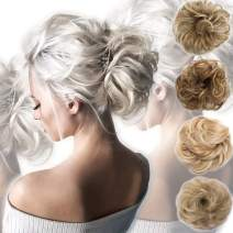 Messy Bun Hair Piece Scrunchy Updo Hair Pieces for Women Fluffy Wavy Hair Bun Scrunchies Donut Hairpiece Synthetic Chignons With Elastic Rubber Band Dark Brown to Ash Blonde-Thicker 1 pc