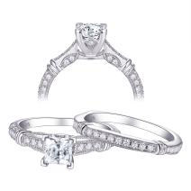 Newshe Engagement Wedding Ring Set for Women 925 Sterling Silver Princess Vintage Cz 1ct Size 5-10