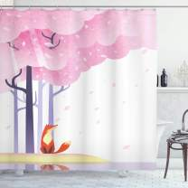 "Ambesonne Fox Shower Curtain, Spring Inspired Composition Pink Sakura Tree Falling Leaves Idyllic, Cloth Fabric Bathroom Decor Set with Hooks, 75"" Long, Pink White"