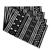 """Mugod Placemats Afrocentric White Black African Mudcloth Mudprint Decorative Heat Resistant Non-Slip Washable Place Mats for Kitchen Table Mats Set of 4 12""""x18"""""""