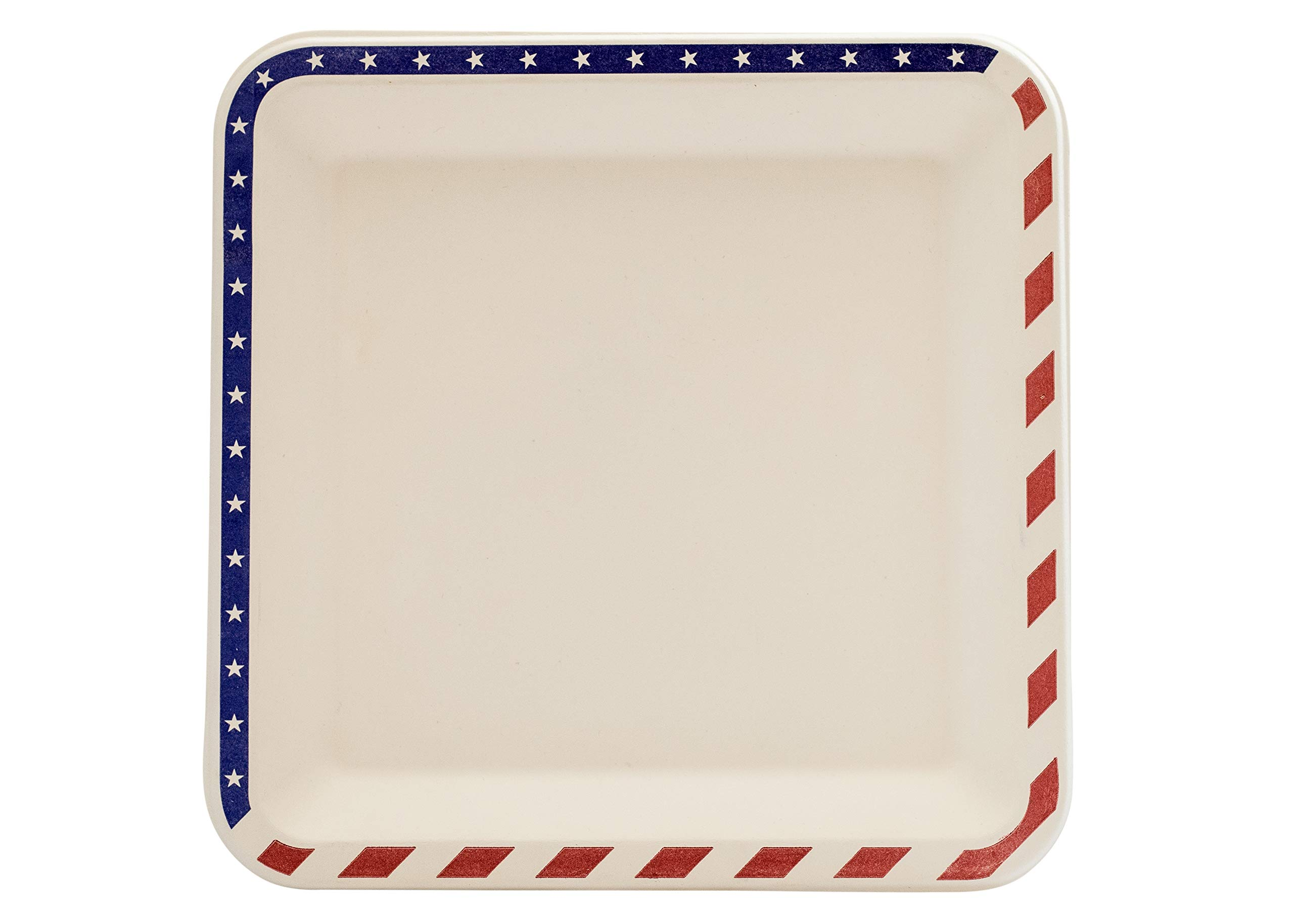 """[100 COUNT] 9.5"""" inches American Flag Contemporary Bagasse Eco Disposable Plates Natural Sugarcane Fibers Compostable Environmental Friendly Paper Plastic Alternative 100% by-product (Red/White/Blue)"""