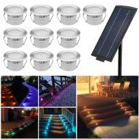 """Solar RGBW Deck Lights Kit, FVTLED 10pcs Φ1.77"""" Solar Powered Dusk to Dawn RGB & Warm White Low Voltage LED Step Lights Kit Dimmable Muti-Color Inground Lights"""