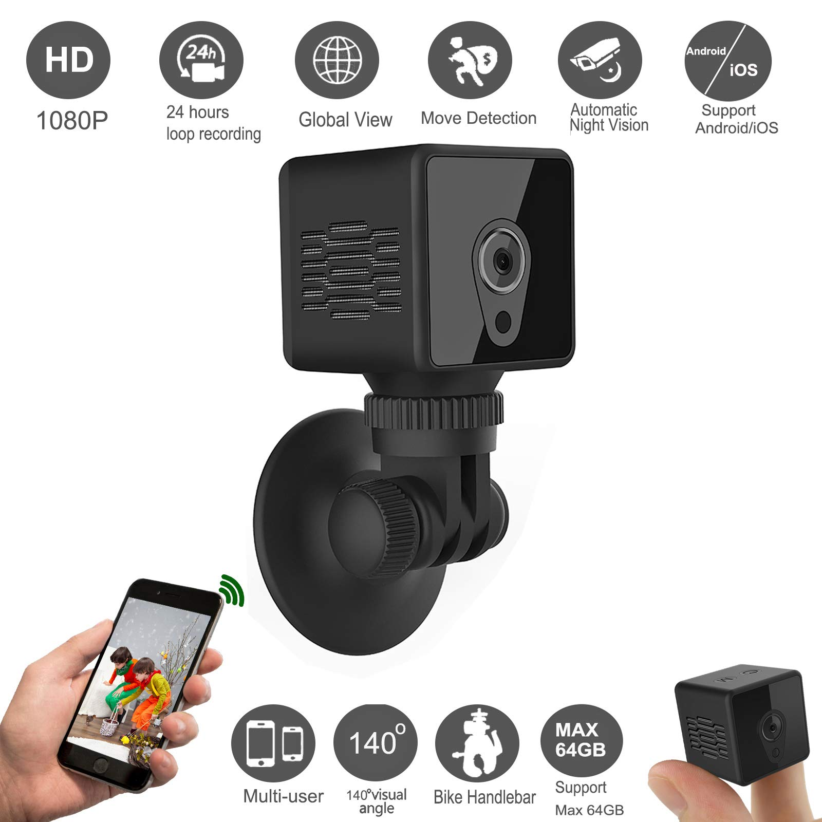 Gurmoir Mini Spy Hidden Camera Wireless WiFi Cam.1080P Spy Hidden Remote Camera with Night Vision/Motion Detection,Nanny Cam Security Cam for Indoor/Outdoor/Home/Office(with iPhone/Android Phone App)