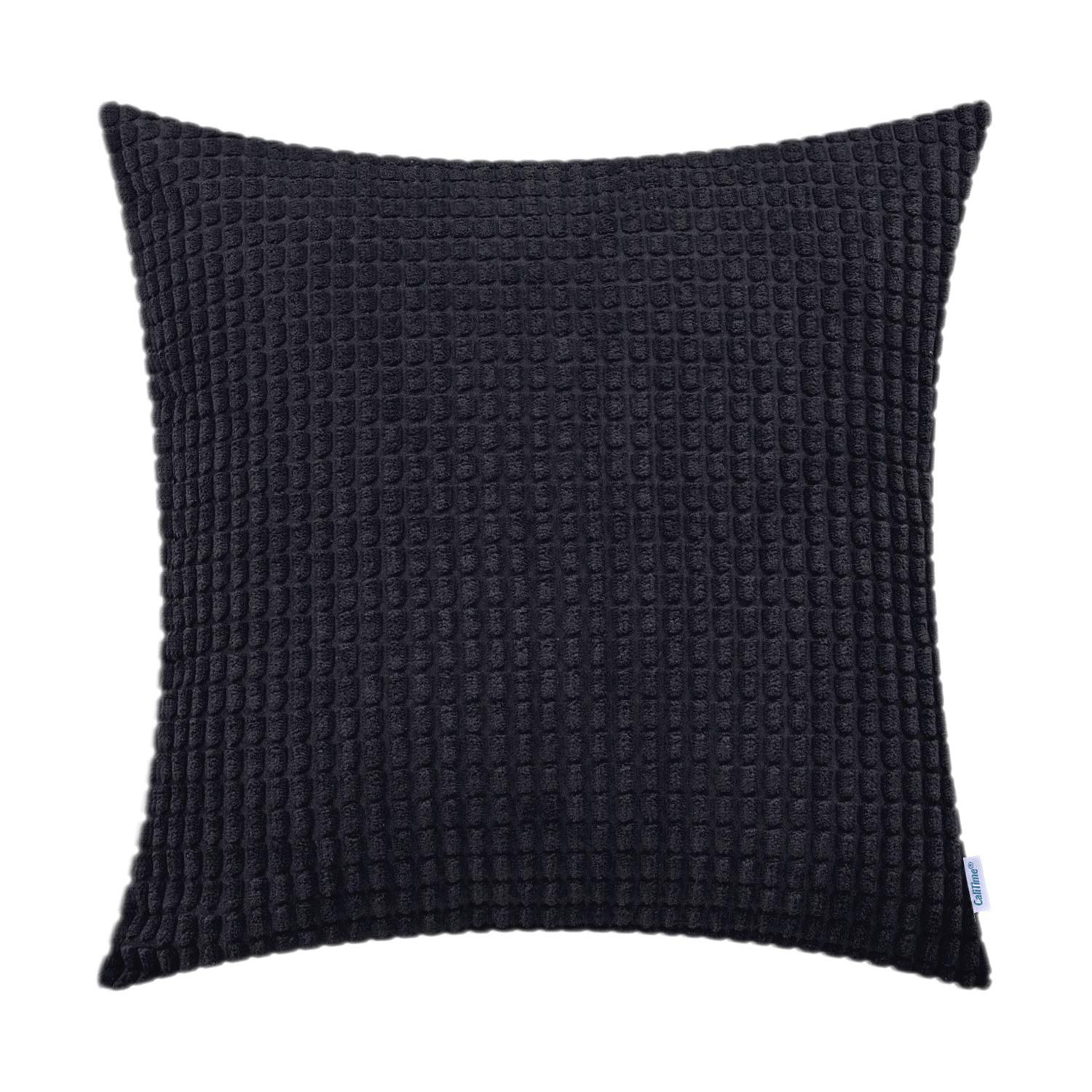 CaliTime Cozy Throw Pillow Cover Case for Couch Sofa Bed Comfortable Supersoft Corduroy Corn Striped Both Sides 22 X 22 Inches Black