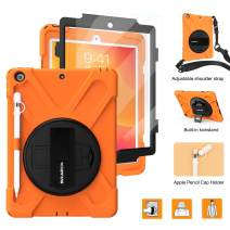 """BRAECNstock New iPad 10.2 Case 2019,[Built-in Screen Protector][with Pencil Holder] Heavy Duty Shockproof with Kickstand/Hand Strap Case for iPad 7th Generation 2019 10.2""""-Orange"""