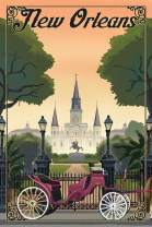 New Orleans, Louisiana - Litho 97123 (16x24 Giclee Gallery Print, Wall Decor Travel Poster)