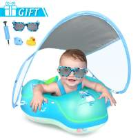 LAYCOL Baby Swimming Float with UPF50+ Sun Canopy Baby Floats for Pool No Flip Overbaby Pool for Baby Age of 3-36 Months (Blue, L)