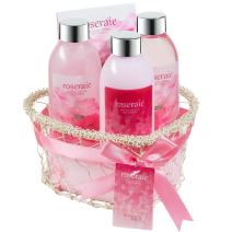 Bath, Body, and Spa Gift Set for Women, in Pink Rose Fragrance, includes a Shower Gel, Bubble Bath, Body Lotion, and Bath Salts, with Shea Butter and Vitamin E to Nourish Skin, a Romantic Gift Idea