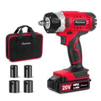 """Avid Power 20V MAX Cordless Impact Wrench with 1/2"""" Chuck, Max Torque 185 ft-lbs, 4Pcs Driver Impact Sockets, Tool Bag and 1.5A Li-ion Battery, Avid Power MCIW326"""