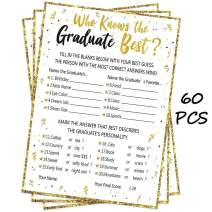60Ct Who Knows Graduate Best Graduation Game Cards 2020 - Grad Party Supplies Decorations