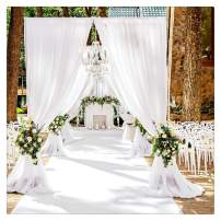 B-COOL White Wedding Backdrop Curtain 9.8ft by 8ft Chiffon Fabric Drape for Wedding Party Arch Stage Decoration