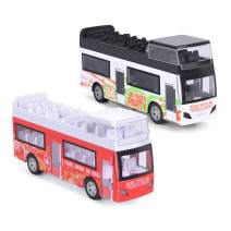 """Think Wing Pull Back Sightseeing Tour Bus, 2 Pack 5"""" Die Cast Car NYC Sightseeing Double Decker Bus Play Vehicles with Pull Back Action for Toddlers"""