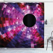 """Ambesonne Abstract Shower Curtain, Mosaic Pattern Design Vibrant Colors Tiles Modern Circular Geometric Graphic, Cloth Fabric Bathroom Decor Set with Hooks, 70"""" Long, Purple Pink"""