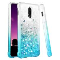 Ruky OnePlus 6T Case, Gradient Quicksand Series Glitter Flowing Liquid Floating Soft TPU Bumper Cushion Reinforced Corners Protective Women Girls Cute Case for OnePlus 6T (2018) (Gradient Teal)