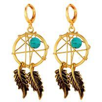 U7 Women Earrings Platinum/18K Gold Plated Turquoise Antique Magic Webs Dream Catcher Dangle Earrings