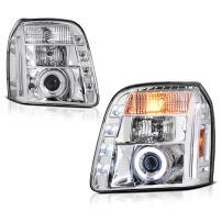 [For 2007-2014 GMC Yukon XL 1500 2500] CCFL Halo Ring Chrome Projector Headlight Headlamp Assembly, Driver & Passenger Side