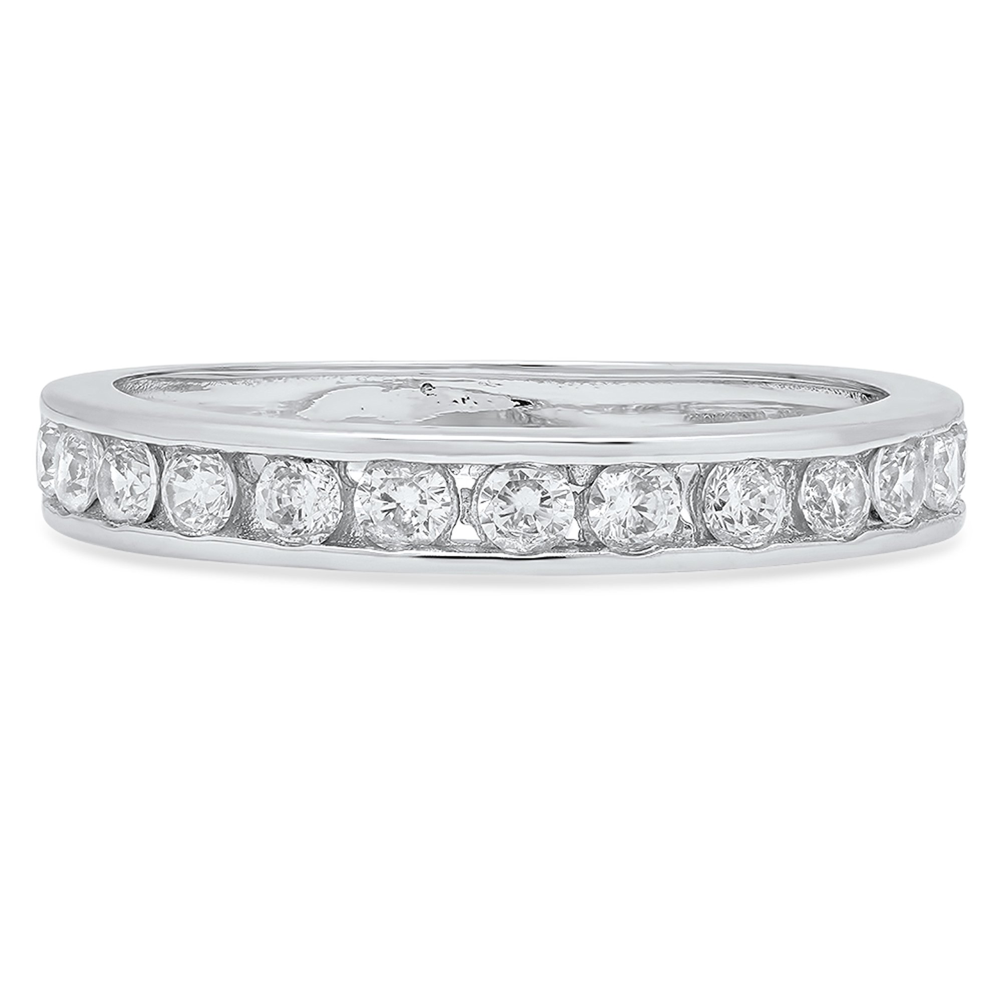 0.42 ct Brilliant Round Cut Stacking Channel Setting Statement Classic Designer Solitaire Anniversary Engagement Wedding Bridal Promise Bands in Solid 14K White Gold