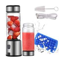 TOPQSC Portable Blender, Personal Blender 15oz USB Rechargeable 5200mAh, Smoothie Blender with Durable Glass and 2 Lids, Stainless Blades 16500rpm, Perfect for Shakes,Smoothies and Baby Food
