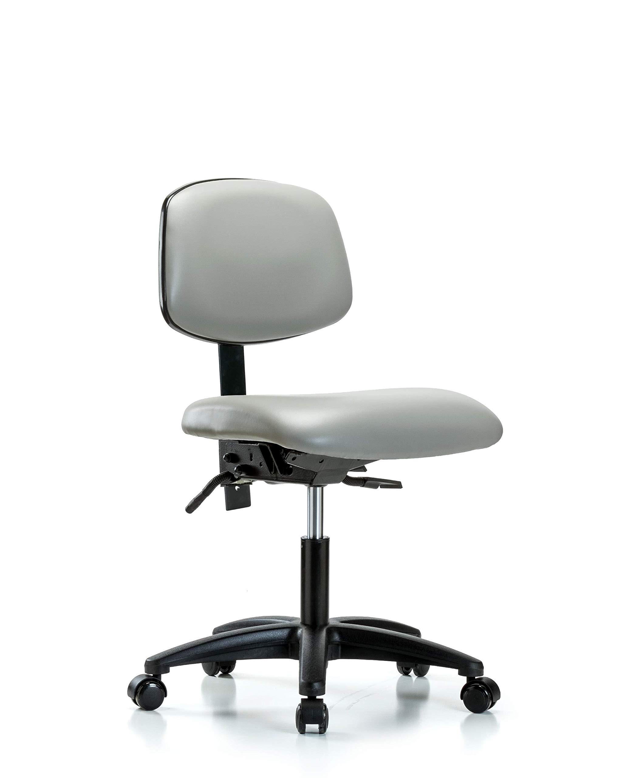 LabTech Seating LT44213 Desk Height Chair, Vinyl, Nylon Base - Casters, Dove