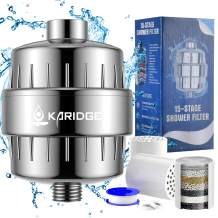 KARIDGE High Output Shower Head Filter for Hard Water, Water Softener Head Shower Filters to Remove Chlorine and Fluoride 15 Stage Shower Head Filters With 2 Replacement Filter Cartridge