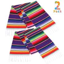 Lansian Mexican Serape Table Runner 14 x 84 Colorful Striped Fringe Cotton for Fiesta Wedding Carnival Cinco De Mayo Party Supplies, 2 Pack
