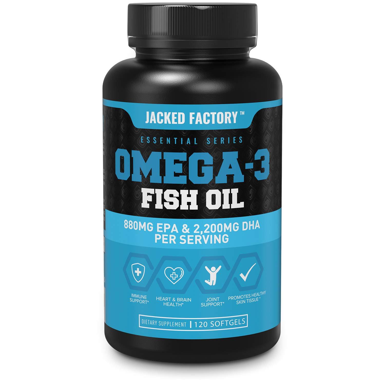 Omega 3 Fish Oil High Potency 3080mg, Enteric Coated Burpless & Non-GMO - Best Omega-3 Fatty Acids w/ 2200mg DHA, 880mg EPA, CLA - Pharmaceutical Grade Omega 3 Supplement - 120 Soft Gel Pills