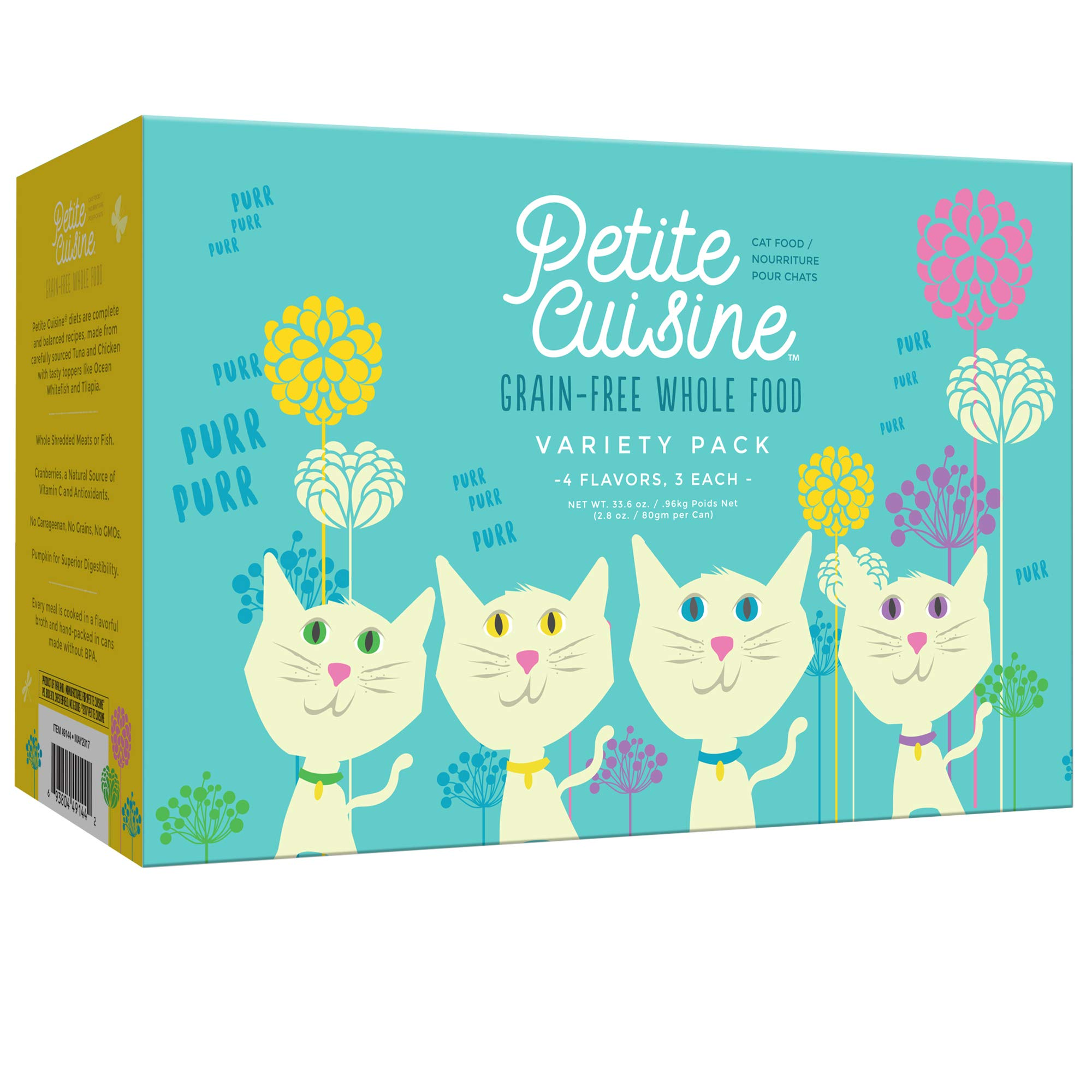 Petite Cuisine Grain-Free Wet Cat Food with Shredded Chicken or Fish in Broth – High Protein, Made with Superfoods