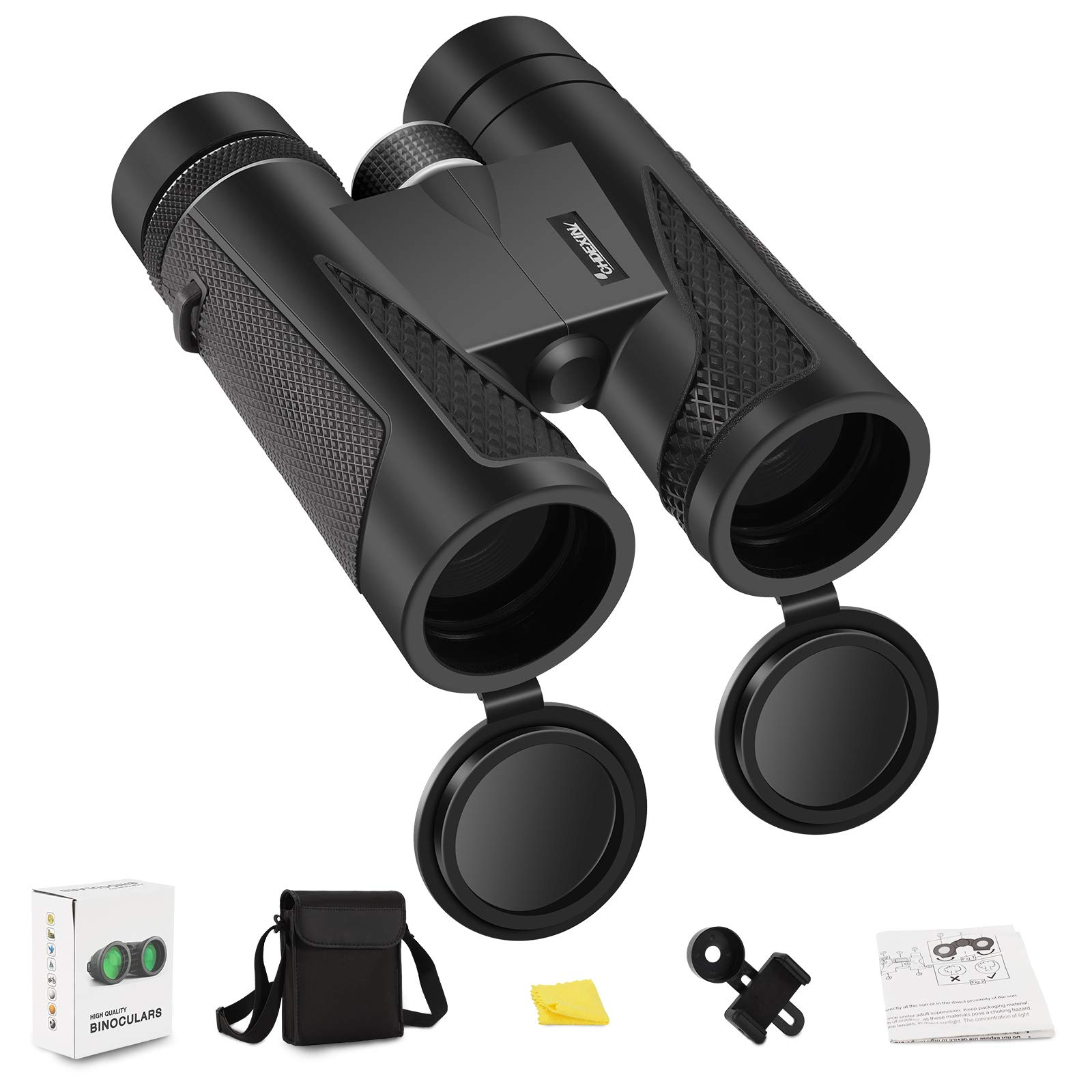 CHDEXIN 10x42 Binoculars, Binoculars for Adults and Kids, Binoculars for Hunting, Binoculars for Bird Watching Travel Concerts Sports Stargazing and Planets-Large Lens BAK4 Prism FMC-with Phone Mount