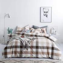 SUSYBAO 3 Pieces Duvet Cover Set 100% Natural Washed Cotton Queen Size 1 Duvet Cover 2 Pillowcases Luxury Quality Ultra Soft Comfortable Breathable Khaki Checkered Plaid Print Bedding with Zipper Ties