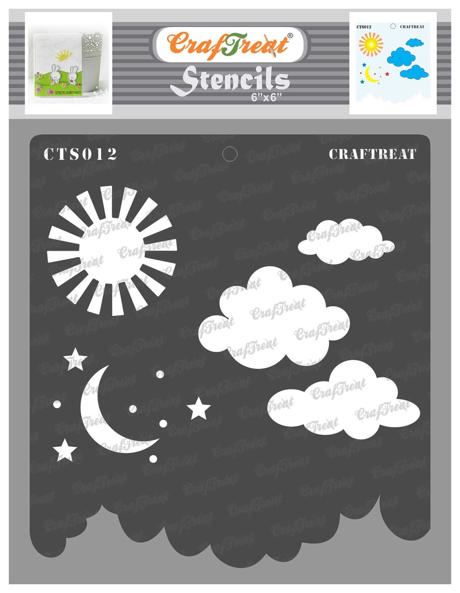 CrafTreat Star Stencils for Painting on Wood, Canvas, Paper, Fabric, Floor, Wall and Tile - Clouds and Stars - 6x6 Inches Each - Reusable DIY Art and Craft Stencils - Sun Moon and Stars Stencil