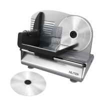 MLITER Electric Food & Meat Slicer Machine with 2 Blades - Serrated & Non-serrated Stainless Steel Blades - Thickness Adjustable for Bread, Cheese, Ham, Vegetables, etc - Silver