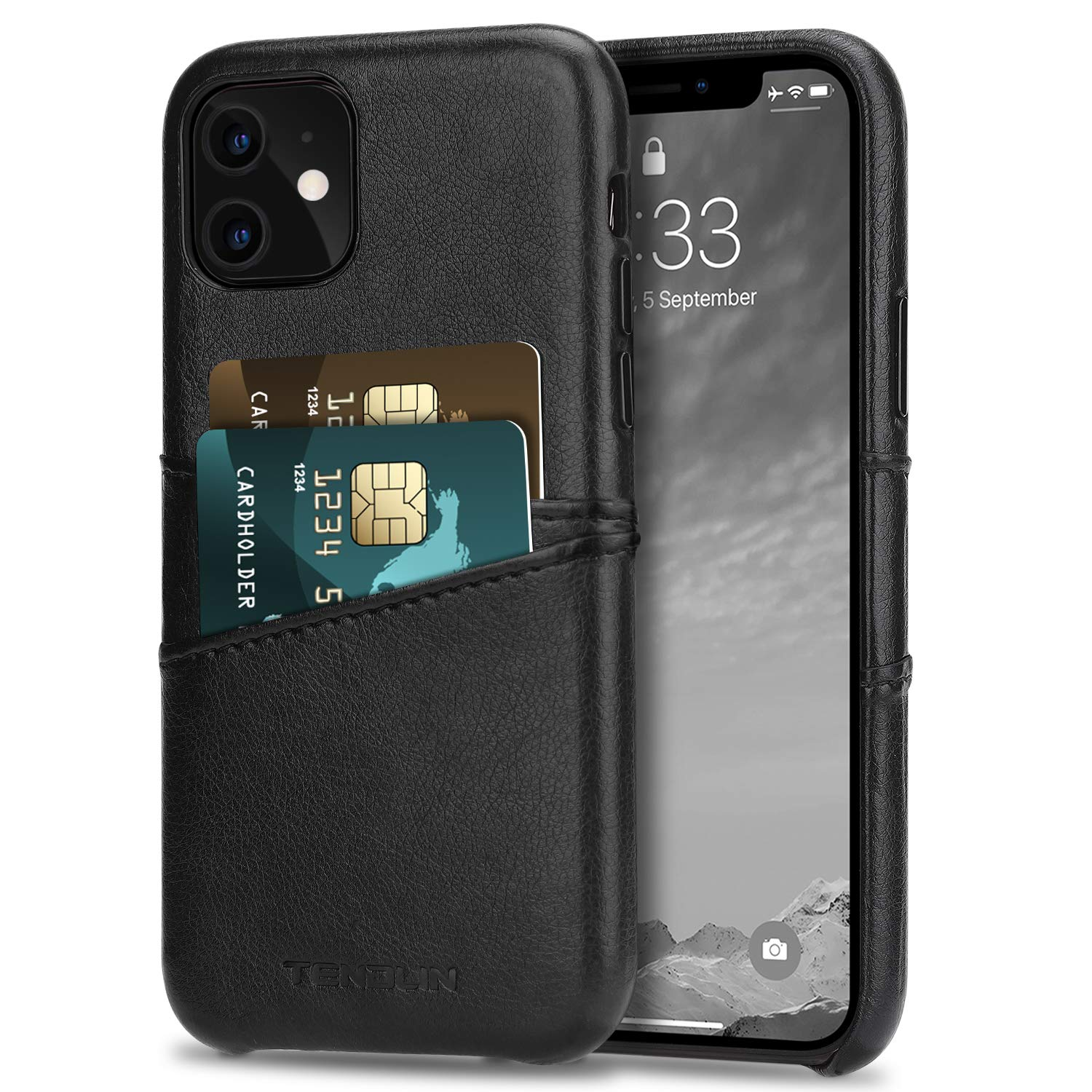 TENDLIN Compatible with iPhone 11 Case Wallet Design Premium Leather Case with 2 Card Holder Slots (Black)