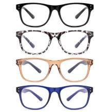 Kinchila 4-Pack Blue Light Blocking Reading Glasses,Fashion Square Frame Computer Readers for Women Men,Anti UV Eyestrain Gaming Eyeglasses 1.25