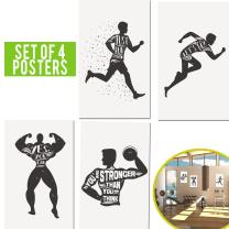 Limited Edition: Beast Fitness Posters Set of Four 11x17 Crossfit Gym Poster - Wall Art Motivational Fitness Quotes, Inspirational Posters of Exercise for Cardio, Calisthenics, Weight Lifting.
