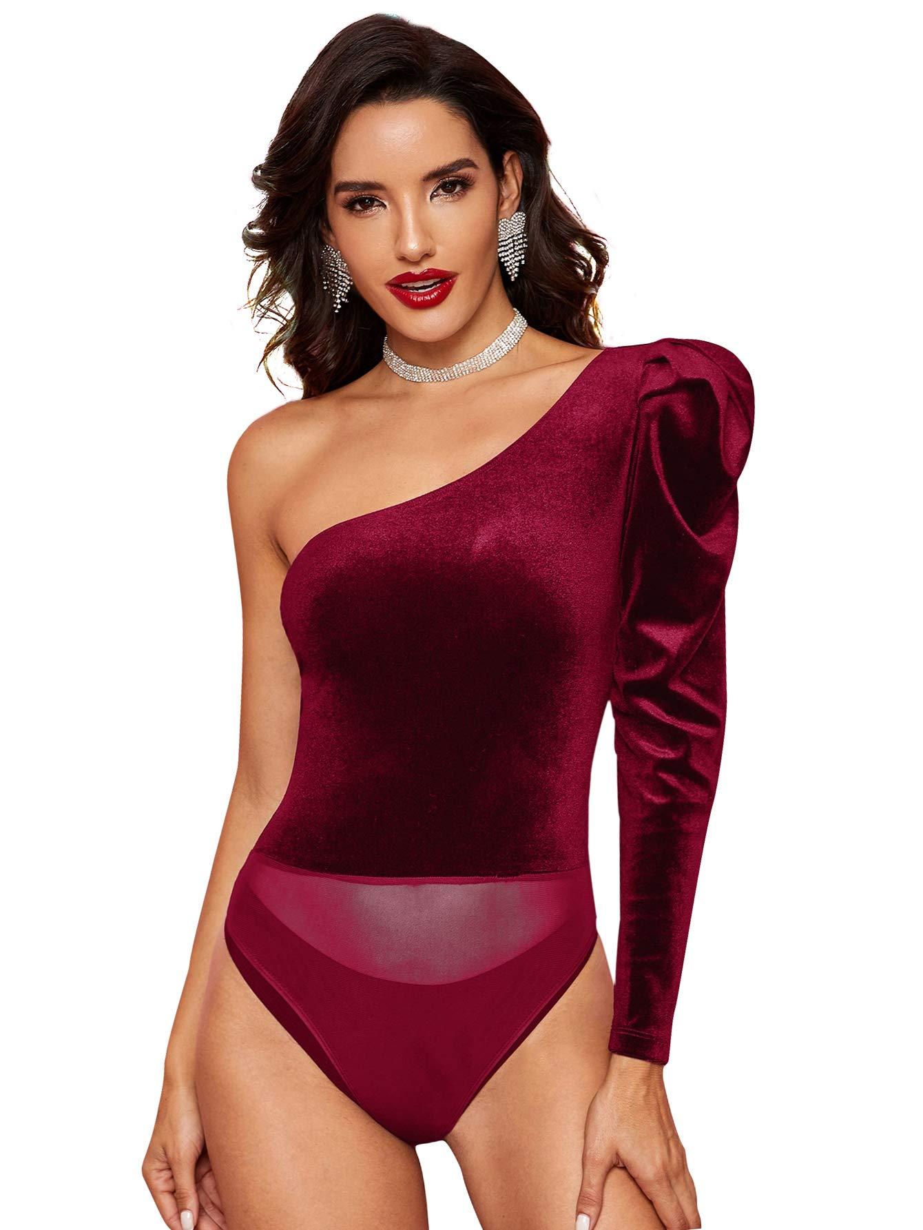Verdusa Womens One Shoulder Off V Neck Backless Bodysuit