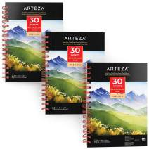 "ARTEZA 5.5x8.5"" Watercolor Pad, Pack of 3, 90 Sheets (140lb/300gsm), 30 Sheets Each, Spiral Bound Acid Free Cold Pressed Paper, Painting & Drawing Sketchbook, Perfect for Wet, Dry & Mixed Media"