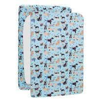 UOMNY Playard Sheets,Pack and Play Sheet Fitted Playard Mattress Sheet,100% Natural Cotton Mini Portable Crib Sheets for Boys and Girls 1 Pack Blue Dog Pack n Play Playard Sheet