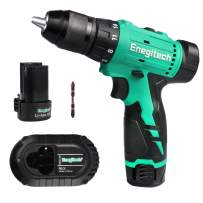 """Enegitech 12V Cordless Drill Driver Kit, 1/2"""" Chuck Brushless Motor 20+1 Clutch Variable Speed Electric Power Tools with 2 x 2.0Ah Lithium-ion Battery 1 x Fast Charger 1 x Bit"""